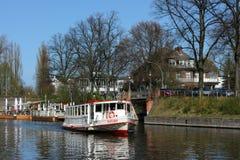 Sänd fartyg`-Saselbek ` på den Alster floden i Hamburg Royaltyfri Foto