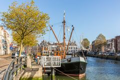 Sänd i hamnen av Maassluis, Nederländerna Arkivfoto