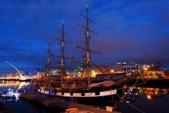 Sänd på den Liffey floden, Dublin på natten Royaltyfria Foton