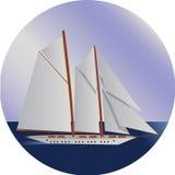 Sänd på havet, det sändande fartyget, vattentransportillustration stock illustrationer