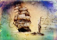 Sänd på havs- eller havkonstillustrationen royaltyfri illustrationer
