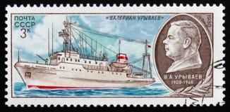 Sänd `-Valerian Uryvaev `, serie av forskningflotta, circa 1980 Arkivfoton