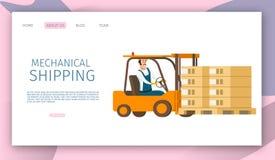 Sändande gods för manlig arbetare på magasinet med gaffeltruckbilen vektor illustrationer