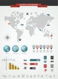 Sändande logistisk infographic världskartasymbolsuppsättning  Royaltyfri Bild