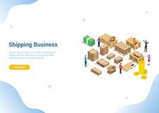 Sändande sändningsaffärsidé för homepage för design för baner för sida för websitemalllandning - vektor royaltyfri illustrationer