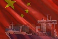 Sändnings för import för export för porslin för lastbehållare royaltyfri illustrationer