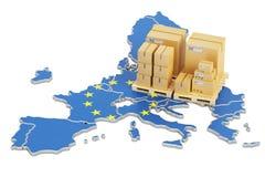 Sändnings och leverans från begreppet för europeisk union, tolkning 3D royaltyfri illustrationer