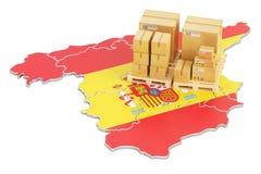 Sändnings och leverans från det Spanien begreppet, tolkning 3D royaltyfri illustrationer