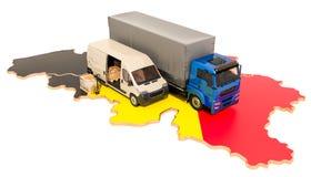 Sändnings och leverans i det Belgien begreppet, tolkning 3D vektor illustrationer