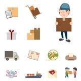 Sändnings- och logistiksymbolsuppsättning Royaltyfri Bild