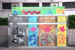 Sänfte mit Wertstoffesammlungsbehälter in Hong Kong Stockbilder