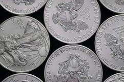 Säng av silver Eagle Coins för Förenta staterna (USA) Royaltyfri Foto