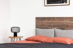 Säng med huvudgaveln, korallark och den svarta industriella lampan arkivbilder