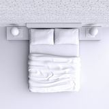 Säng med kuddar och en filt i hörnet hyr rum, illustrationen 3d Arkivfoton