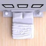 Säng med kuddar och en filt i hörnet hyr rum, illustrationen 3d Royaltyfria Bilder
