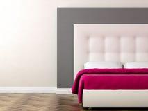 Säng med rosa färgfilten stock illustrationer