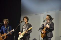 Sänger Daniele Silvestri, maximales fabi Gazzè und Niccolo auf Stadium Stockfotografie