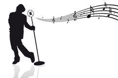 Sänger mit Mikrofon und musikalischen Anmerkungen lizenzfreie abbildung