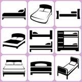 Sängsymbolsuppsättning stock illustrationer