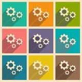 Sänka med kugghjul för skuggasymbols- och mobilapplacationen vektor illustrationer