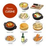 Sänker den traditionella disken för koreansk kokkonst symboler royaltyfri illustrationer
