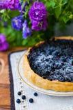 Tårta med blåbäret Arkivfoto