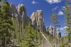 Särskiljande brant klippa över en alpin dal fotografering för bildbyråer