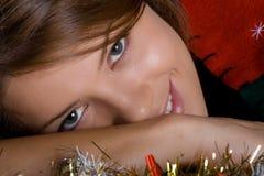 säsong för julkvinnligmodell Royaltyfri Bild