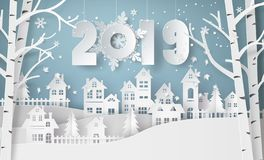 Säsong för lyckligt nytt år och vinter, för bygdlandskap för snö stads- by för stad vektor illustrationer