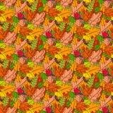 Säsong för nedgång för Autumn Seamless Pattern Background Colorful sidaprydnad Royaltyfri Bild