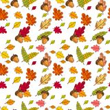 Säsong för nedgång för Autumn Seamless Pattern Background Colorful sidaprydnad Royaltyfria Foton