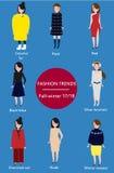 Säsong 2017-2018 för vinter för modetrendnedgång Infographic Arkivfoto