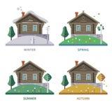 Säsong för Wood hus Plan illustration för vektor Royaltyfri Foto