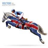 säsong tyrol för hinder för merano för maia för 2009 för häckhippodromehäst hopp för jockey mästare Ryttare på en häst royaltyfri illustrationer