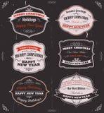 Säsonghälsningsbaner, emblem och ramar Royaltyfri Bild