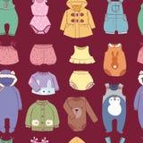 Säsongsbetonad begynnande kläder för torkduk för barnsligt mode för ungar barn- barnslig shoppar sömlös modellbakgrund för illust stock illustrationer