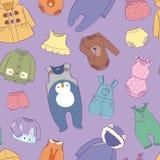 Säsongsbetonad begynnande kläder för torkduk för barnsligt mode för ungar barn- barnslig shoppar sömlös modellbakgrund för illust vektor illustrationer