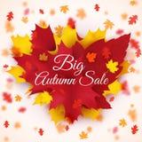 Säsongsbetonad försäljningsbakgrund för stor höst med färgrika fallande sidor hösten startar det rubber temaparaplyet för raincoa Royaltyfri Bild
