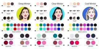 Säsongsbetonad palett för färganalys för klar, kall och djup vinter Bästa färger för vintertyp av det kvinnliga utseendet Fa stock illustrationer