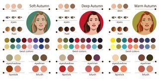 Säsongsbetonad palett för färganalys för mjuk, djup och varm höst Bästa färger för hösttyp av det kvinnliga utseendet Fac vektor illustrationer