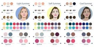 Säsongsbetonad palett för färganalys för mjuk, ljus och kall sommar Bästa färger för sommartyp av det kvinnliga utseendet Fa royaltyfri illustrationer