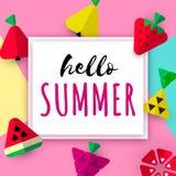Säsongsbetonat baner för Hello sommar royaltyfri illustrationer