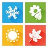 Säsongsymbol Uppsättning av naturen Blå vinter med snöflingan, den gröna våren med blomman och bladet, gul sommar med solen, oran vektor illustrationer