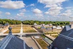 Säteri av Vaux-le-Vicomte, Frankrike Sikt från huvudbyggnaden Fotografering för Bildbyråer