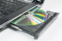 Sätt in en CD in i bärbara datorn royaltyfri fotografi