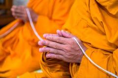 Sätt gömma i handflatan av händerna tillsammans i honnören, munkar, Thailand Royaltyfria Bilder