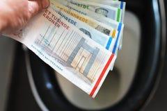 Sätt pengarräkningar i toaletten royaltyfri fotografi