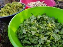 Sätta in ätliga växter för matlagning i tarmar och sätter på branden Fotografering för Bildbyråer