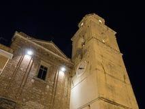 Sätta en klocka på staden av den gamla staden av Sirolo, Conero, Marche, Italien Royaltyfri Bild