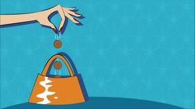Sätta mynt in i en handväska börs Royaltyfri Foto